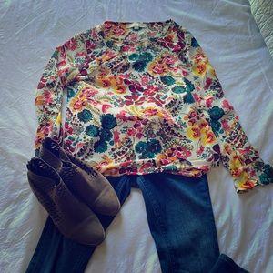 Loft floral ruffle blouse size SP